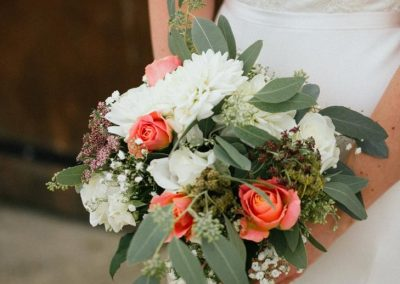 orange and green bouquet_pastel_summer_bouquet_Oxleaze Barn_Enchanted Floristry_Green Button