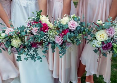 pink bridesmaids bouquets_pastel_winter_bridesmaids_Enchanted Floristry_Caswell House