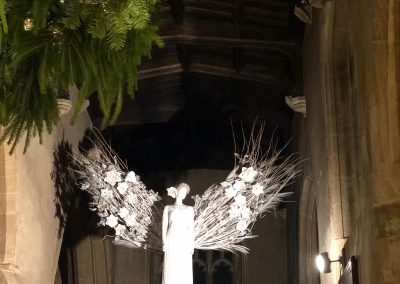 angel wings at Witney Wonderland_white_winter_backdrop_Enchanted Floristry_St Mary's Church
