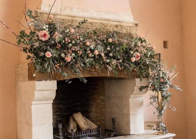 fireplace floral display_pastel_autumn_garland_Enchanted Floristry_Oxleaze Barn