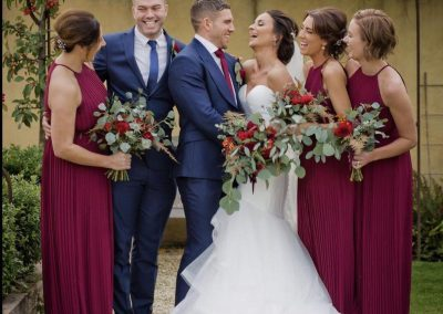 bridal party bouquets_bright_autumn_bridesmaids_Enchanted Floristry_Oxleaze Barn_Rachel Blackwell Photography